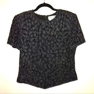 Adrianna Papell Beaded Blouse Size 10